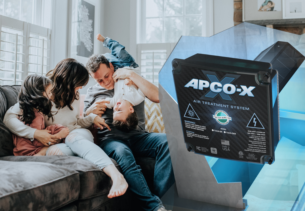 Family on couch with APCO-X item overlayed