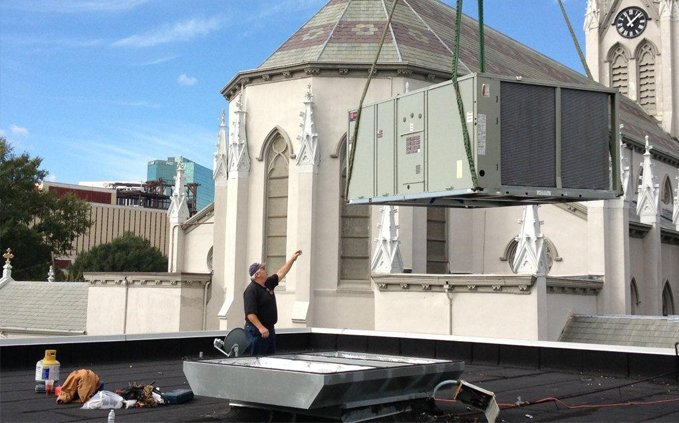 Commercial HVAc install on roof